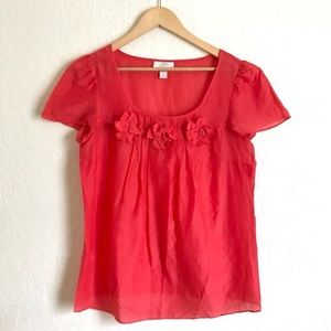 LOFT Red Cotton Silk Blouse Small